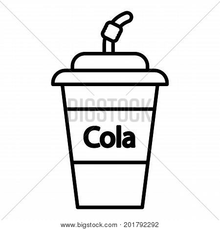 Cola plastic glass icon. Outline illustration of cola plastic glass vector icon for web