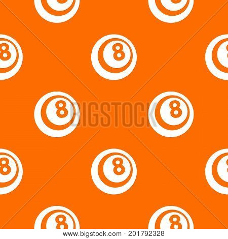 Black and white snooker eight pool pattern repeat seamless in orange color for any design. Vector geometric illustration