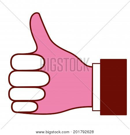 pink and scarlet red sections silhouette of right hand thumb up vector illustration
