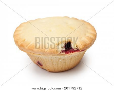 Small bitten cake isolated on white background