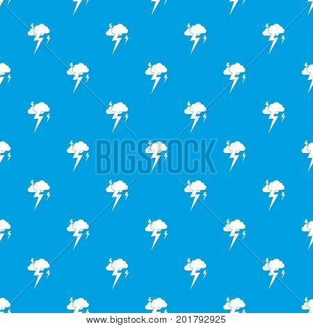 Cloud and lightning pattern repeat seamless in blue color for any design. Vector geometric illustration