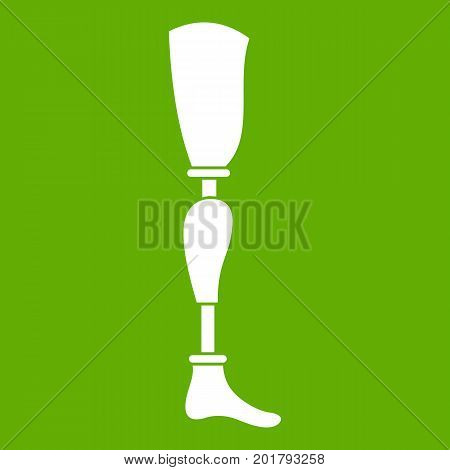 Prosthesis leg icon white isolated on green background. Vector illustration