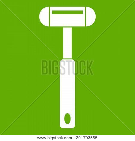 Reflex hammer icon white isolated on green background. Vector illustration