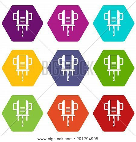 Boer drill icon set many color hexahedron isolated on white vector illustration