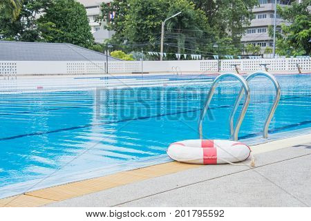 ring buoy near the pool for rescue victim drowning