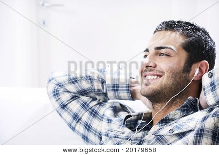 Young Man In Relax  Listening Music