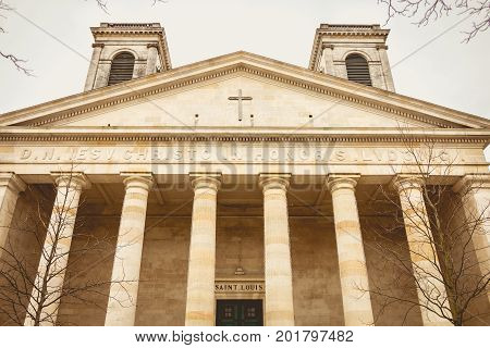 La Roche-sur-Yon France - December 19 2016 : Detail of the architecture of the Saint-Louis church in La Roche-sur-Yon France. Built in the nineteenth century it is neoclassical in style.