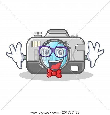 Geek photo camera character cartoon vector illustration