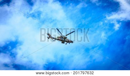 Helicopter Eurocopter Ec665 Air Force Tiger Flies Over The French Capital