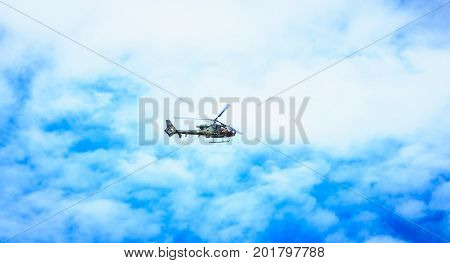 Gazelle Sa 342M Helicopter Of The Sud-aviation Company Of The Army Overflies The French Capital