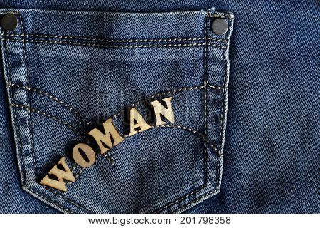 Wooden Letters And Jeans
