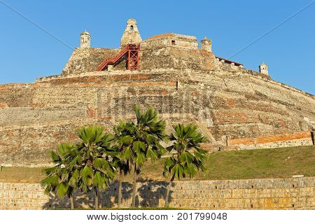 San Felipe de Barajas fortress on the Hill of San Lazaro in Cartagena Colombia. The fortress is open to the public and most visited city attraction.