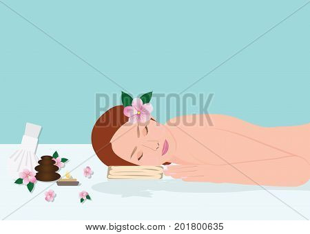 Beautiful young woman in spa woman relaxing isolated on blue background Vector Illustration.
