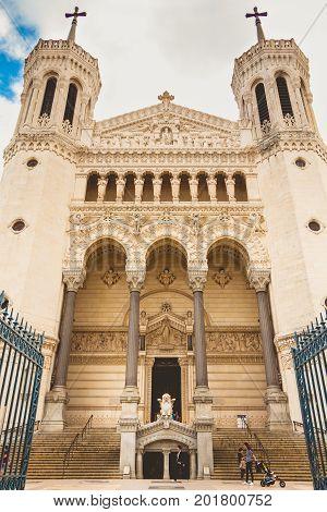 Detail Of The Architecture Of The Notre-dame De Fourvière Basilica