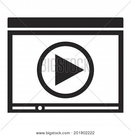 black silhouette of window with start playback icon vector illustration