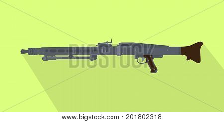 german iconic popular automatic machine gun with long shadow vector
