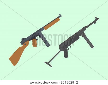 compare vs versus between usa america thompson submachine gun vs mp-40 german vector