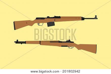compare vs versus between usa america m1 garand riffle vs gewehr 43 german vector