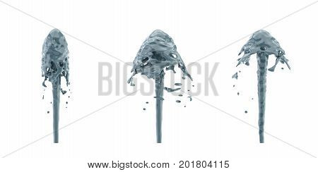 3d rendering of three fountain streams in greyish blue color splashing upwards. Liquid in motion. Natural force. Oil procurement.