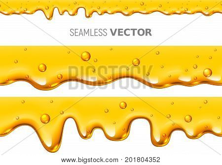 Set of two vector seamless dripping honey on white background. Eps10. RGB. Global colors