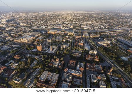 Aerial view of the University of Southern California campus and neighborhoods south of downtown Los Angeles.