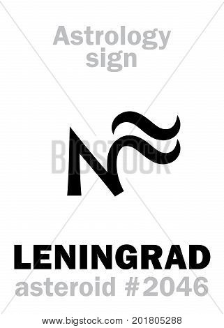 Astrology Alphabet: LENINGRAD, asteroid #2046. Hieroglyphics character sign (single symbol).
