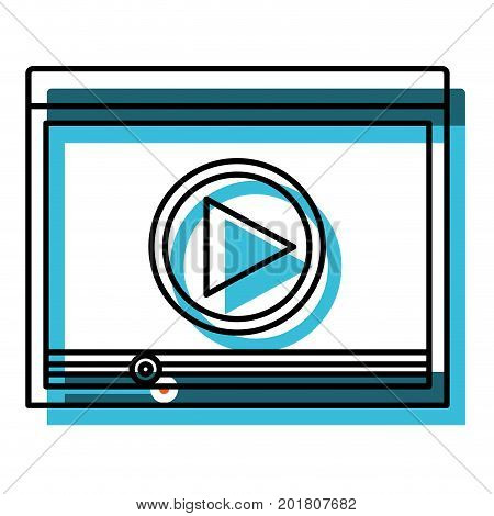 watercolor silhouette of window with start playback icon vector illustration