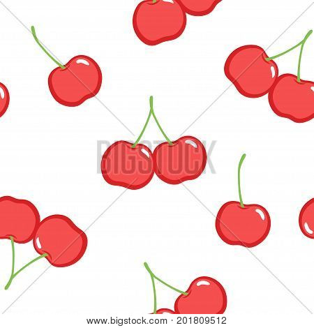 Seamless patten with red ripe cherries. Vector background.