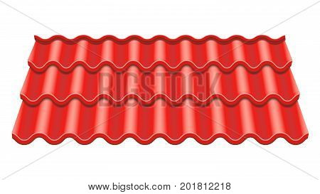 Corrugated Tile Vector. Element Of Roof. Ceramic Tiles. Fragment Of Roof Illustration.