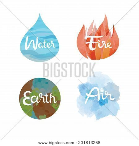Set of the four nature elements icons. 4 elements water, fire, earth, air symbols vector isolated illustration