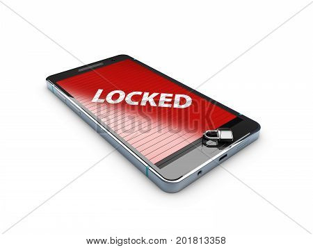 3D Illustration Of Smart Phone With Lock, Abstract Background