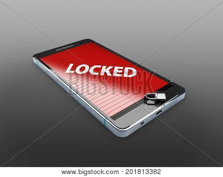 Smart Phone With Lock, Abstract Background For Solution To Security Smartphone 3D Illustration