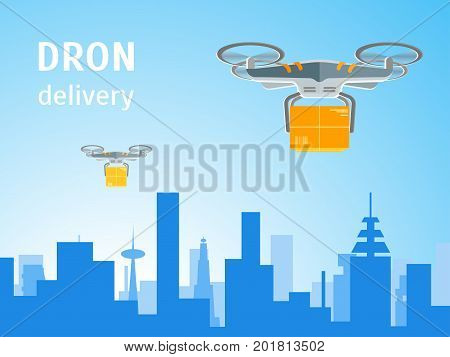 Cartoon Drone Technology Delivery Logistic Service Business for Card, Poster Flat Design Style. Vector illustration of Drones