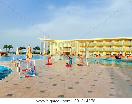 Sharm el Sheikh -April 09, 2017: Tourists doing the animation yoga at Barcelo Tiran Sharm Hotel 5 at Sharm el Sheikh on April 09, 2017