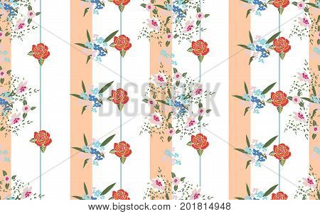 Сute floral pattern in small-scale flowers. Seamless striped background for  print gift wrap and scrapbooking.