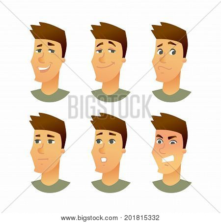 Male Facial Expressions - vector cartoon people character illustration. A young man head with different emotions - smiling, friendly, surprised, angry, bored, sad, disappointed, indifferent, neutral