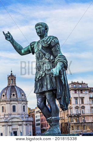 August Caesar Bronze Statue Church Forum Rome Italy. Modeled on ancient statue of Augustus Caesar