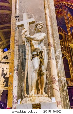 ROME, ITALY - January 19, 2017 Michelangelo Christ Redeemer Statue Santa Maria Sopra Minerva Basilica Church Rome Italy. Built in the 1200s on a Temple to Minerva home of Dominicans. Statie finished 1521