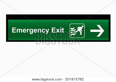 Emergency Exit Sign isolated on white background