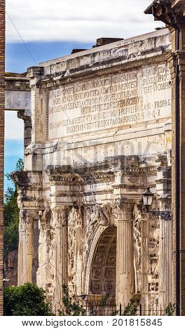 ROME, ITALY - January 19, 2017 Arch of Constantine Rome Italy Arch built in 315 AD to celebrate Emperor Constantine's victory in 312 over co-emperor Maxenntius. Constantine attributed victory to vision of Jesus Christ made Christianity legal