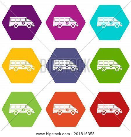 Ambulance emergency van icon set many color hexahedron isolated on white vector illustration