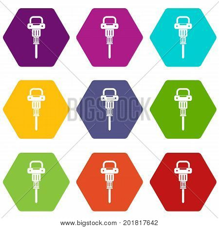 Pneumatic hammer icon set many color hexahedron isolated on white vector illustration