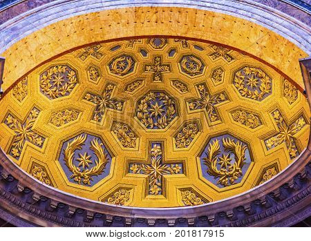 ROME, ITALY - January 19, 2017 Yellow Blue Decorations Pantheon Rome Italy Rebuilt by Hadrian in 118 to 125 AD the Second Century Became oldest Roman church in 609 AD.