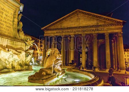 Della Porta Fountain Piazza della Rotunda Pantheon Night Rome Italy. Fountain created in 1575 by Giacomo Della Porte. Pantheon oldest Roman church and oldest intact Roman building built 118 AD on spot of old Pantheon created by General Agrippa under Emper