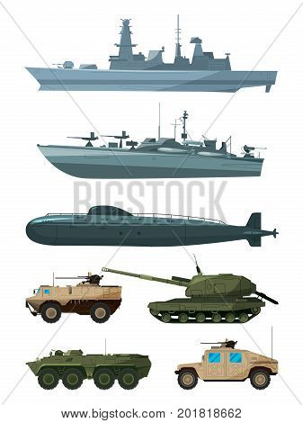 Warships and armored vehicles of land forces. Military transport support. Army marine transport, warship and land vehicle machine illustration