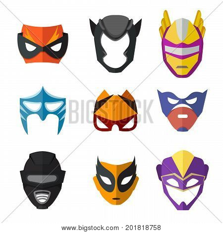 Different superheroes masks for kids. Vector illustrations in flat style. Superhero coolored mask costume collection