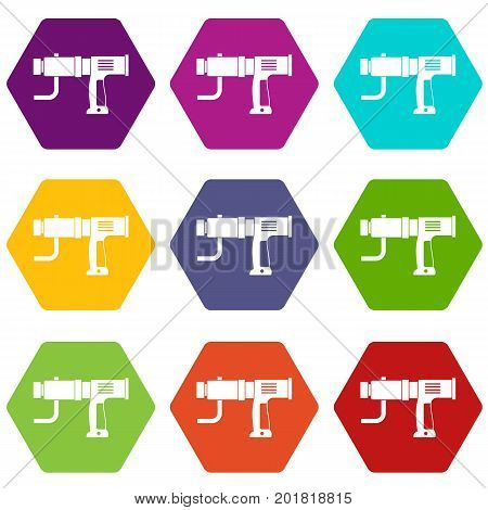 Hand drill icon set many color hexahedron isolated on white vector illustration