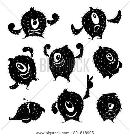 Character of funny monster in different action poses. Devil cute smile. Monochrome illustrations emotion fear and resentment, angry fantasy caricature vector poster