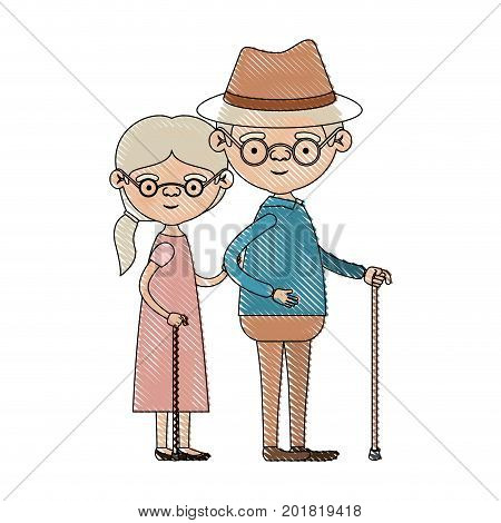 color crayon silhouette of full body elderly couple in walking stick grandmother side ponytail hairstyle in dress and grandfather with hat and glasses vector illustration