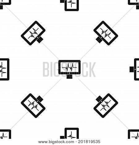 Electrocardiogram monitor pattern repeat seamless in black color for any design. Vector geometric illustration
